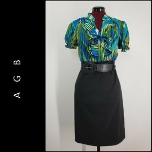 AGB Woman Ruffle Front Dress Size 10 Black